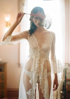 Sexy-Classy Bridal Lingerie to Wear on Your Wedding Night - La Scala Robe by Claire Pettibone