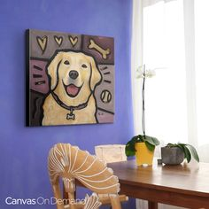 """Add a pop art masterpiece featuring your favorite hound with our Pop Art Dogs Collection. """"Golden Retriever Pop Art"""" canvas wrap by Eric Waugh. Take a look at more canvas and wall decor options for this photographic print and many more at CanvasOnDemand.com!"""