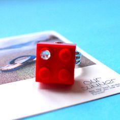Lego Ring Adjustable, Red Brick Swarovski Crystal Rhinestone Jewelry Pendant Charm Wedding Geekery Party Fun - Considering all my boys - this is appropriate! Rhinestone Jewelry, Crystal Rhinestone, Swarovski Crystals, Blue Weddings, Party Fun, Best Part Of Me, Pendant Jewelry, Red And Blue, Usb Flash Drive