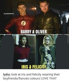 Noticed immediately when I watched the crossover. Glad someone else also pointed it out. <-- i'm really lauging bcs snowbarry have a lot of clothes match and when westallen have finally one time is for u cute hahaha Superhero Shows, Superhero Memes, Movies And Series, Cw Series, Supergirl Dc, Supergirl And Flash, Arrow Flash, Arrow Memes, Flash Funny