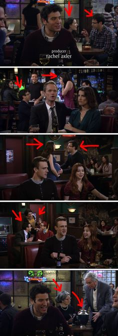 """This couple in the background who went from talking to getting engaged, to making a baby, to celebrating their kid's graduation, to the husband passing away, all in one scene. 21 Tiny Little Things You Never Noticed In """"How I Met Your Mother"""" How I Met Your Mother, Ted Mosby, I Meet You, Film Serie, Comedy Series, School Memes, You Never, Little Things, Best Funny Pictures"""