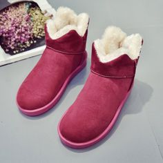 Snow Boots Women Winter Fur Lining Cotton Shoes Keep Warm Casual Flats