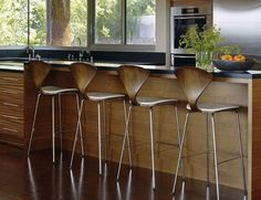 barstool norman cherner | Modern Bar Stools and Kitchen Countertop Stools in Soft Round Shapes