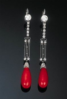 A Pair of Art Deco Coral, Diamond and Enamel Ear Pendants