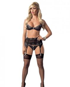 This ensemble includes a lace and mesh bra, matching garter belt with front boning, g-string panty and thigh high stockings from Escante. Black/Gray color. Ladies size small. Sizes 2 to 6.  A/B Cups. Bust 32 inches to 34 inches. Waist 24 inches to 26 inches. Hips 34 inches to 36 inches. Weighing between 90 pounds to 120 pounds.