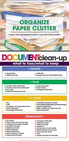 declutter Is paper clutter taking over your life? Organize paper clutter in 5 simple steps for good! Free printable list of what to toss and what to keep included! Organizing Paperwork, Organisation Hacks, Clutter Organization, Household Organization, Home Office Organization, Organizing Paper Clutter, Organizing Tips, Decluttering Ideas, House Cleaning Tips