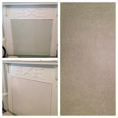 Victorian fireplace covering before & after...refinished with a Pearl glaze metallic faux finish and Sherwin Williams Cultured Pearl base. www.creativepaintinganddesign.com