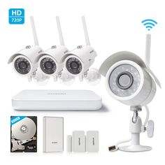 Zmodo All-in-One Wireless Outdoor Indoor Smart Home Security Camera 4CH NVR System 500GB Hard Drive with Zmodo Beam and 2 Pack Door/Window Sensors