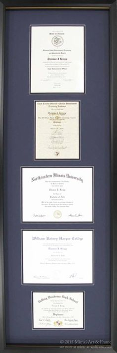 A fantastic idea for the academic in your life... Forgetting trying to find wall space for many different framed diplomas and certificates, having them all custom framed together may be just the solution! #diplomas #customframed