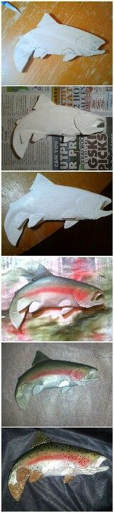 The birth of a Rainbow trout...woodcarving by Jim Scagline