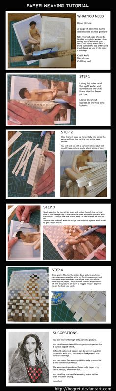 Paper Weaving Tutorial @Jackie Godbold Rueckert Lakely check out the pic where they only wove part of the photo! Interesting!