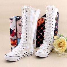 Women-Girl-Punk-Rock-Emo-Gothic-zip-Lace-up-Canvas-boot-shoes-sneaker-knee-high