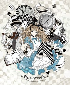 Tags: Anime, Alice in Wonderland, Cheshire Cat, Mad Hatter, Pixiv  Eri Kamijou