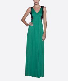 Love this Dark Green & Black Pleated V-Neck Maxi Dress on #zulily! #zulilyfinds