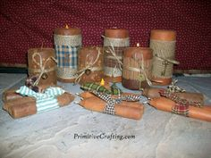 Make your own Decorative Primitive Candles! Full Free Tutorial @ PrimitiveCrafting.com
