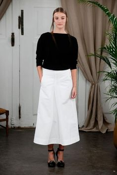 Christophe Lemaire S/S '14: black and white in reverse, the long white skirt here is a timeless piece