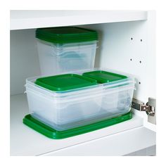 PRUTA Food container, set of 17, clear, green
