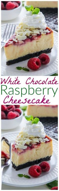 Creamy White Chocolate Cheesecake swirled with fresh raspberry all on top of a homemade chocolate cookie crust. This one is a showstopper! Creamy white chocolate cheesecake swirled with raspberry on top of a homemade Oreo cookie crust! Homemade Oreo Cookies, Homemade Chocolate, Cake Chocolate, Chocolate Topping, Just Desserts, Delicious Desserts, Yummy Food, Cheesecake Tradicional, Cheesecake Recipes