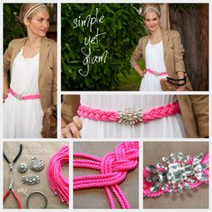 DIY Neon Rhinestone Belt - I won't do it in pink...I don't really wear belts anymore since taking in all my pants but just as an accent piece will have to be revisited.