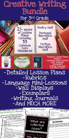 Third Grade Writer's Workshop Bundle.  15 weeks of lesson plans for teaching poetry, personal narrative, and fiction narrative.  Over 600 pages of lesson plans, wall displays, journal topics, grammar mini-lessons and more!