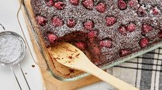Devil's food cake mix is the perfect foil for quick oats and loads of fresh raspberries — a few chocolate chips don't hurt either — in this new breakfast bake from the Betty Crocker Kitchens that we can't stop obsessing about.