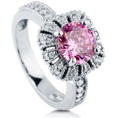 BERRICLE BERRICLE Sterling Silver Round Pink CZ Crown Halo Engagement... ($65) ❤ liked on Polyvore featuring jewelry, rings, pink, women's accessories, cubic zirconia wedding rings, wedding band rings, sterling silver engagement rings, anniversary rings and cubic zirconia rings