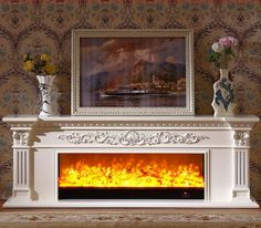 fireplace mantel on sale at reasonable prices, buy living room decorating warming fireplace wooden fireplace mantel electric fireplace insert LED optical artificial flame from mobile site on Aliexpress Now! Linear Fireplace, Fake Fireplace, Fireplace Built Ins, Fireplace Inserts, Fireplace Design, Fireplace Mantels, Oak Mantel, Wooden Mantel, Wooden Fireplace