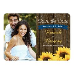 COBALT BLUE RUSTIC SUNFLOWER SAVE THE DATE CARD PERSONALIZED INVITATIONS