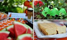 """""""On Saturday he ate through the watermelon"""" sign and upside down egg carton as the caterpillar."""