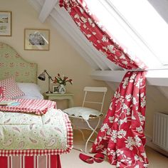 Love these curtains for a roof light by Vanessa Arbuthnott featured on 'Tea with Ruby' blog