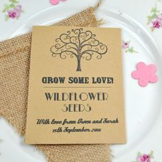Recycled seed packet wedding favour with british wildflower seeds.  Eco-friendly and great for butterflies and bees!  £1.25.  www.wildflower-favours.co.uk