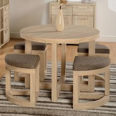 Home & Haus Cambourne Stowaway Dining Table and 4 Chairs