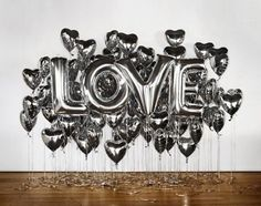 Create fun, colourful backdrops for your wedding photo booth with ideas that include handmade garlands, bold balloons and more! Letter Balloons, Mylar Balloons, Balloon Backdrop, Heart Balloons, Floating Balloons, Metallic Balloons, Jumbo Balloons, Backdrop Decor, Reception Backdrop