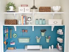 diy ideas, pegboard ideas, craft room ideas, do it yourself .while I was doing research for my pegboard I found more inspiration then I'll ever need Pegboard Ideas for Your Craft Room to be exact)! Pegboard Craft Room, Craft Room Closet, Craft Room Storage, Wall Storage, Closet Storage, Craft Organization, Craft Rooms, Hang Pegboard, Closet Desk