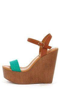 Emily 34 Aqua and Tan Platform Wedge Sandals