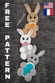 Free crochet pattern for the most adorable applique bunny! It is an easy and quick pattern. It is perfect to personalize crochet items! Crochet Applique Patterns Free, Free Crochet, Crochet Appliques, Crochet Embellishments, Kids Crochet, Knit Patterns, Crochet Ideas, Easter Bunny Crochet Pattern, Crochet Rabbit