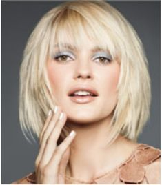 Bangs look great on any length hair. They accentuate your eyes and cheekbones, and look polished whether you're wearing your hair down or in a ponytail. Plus, they're very youthful. Short bob haircut with bangs. The most flattering proportions divide the face into thirds. A fringe that falls a third of the way down your face will balance your features.