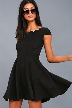 4b6288158b04 Lulus Exclusive! The Dearest Dreams Black Suede Skater Dress is simply  perfect! Stretchy