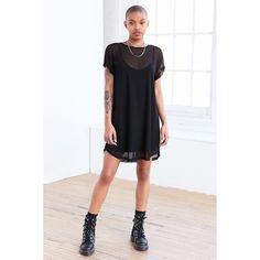 Silence + Noise Mesh T-Shirt Mini Slip Dress ($64) ❤ liked on Polyvore featuring dresses, mini dress, sleeveless bodycon dress, short sleeve bodycon dress, loose t shirt dress and t shirt dress