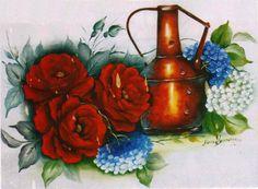 pintura em tecido rosas vermelhas - Pesquisa Google