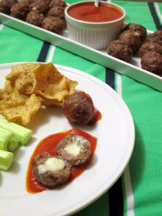 cheese stuffed cocktail meatballs -- perfect Super Bowl party snack!
