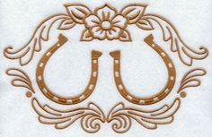 Two horseshoes and flower machine embroidery design.