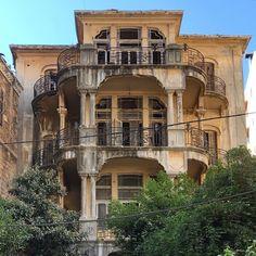 "Beirut Émoi 🎈 on Instagram: ""Grandeur . . . . #building #facade #architecture #balconies #decayed #yellowbuilding #onceuponatime #vintagearchitecture #beirut #lebanon"" Once Upon A Time, Beirut, Mansions, Architecture, House Styles, City, Instagram, Home, Decor"