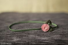 Baby Headband, Pink and Green  Rose Newborn Headband, Great for Photo Prop on Etsy, $7.90