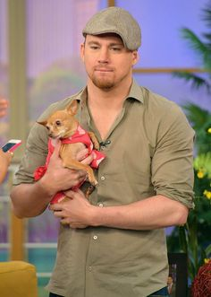 Pin for Later: Hot Hollywood Guys Are Even Hotter When Paired With Pups  Channing Tatum cuddled a puppy while promoting White House Down during a TV appearance in Miami in June 2013.