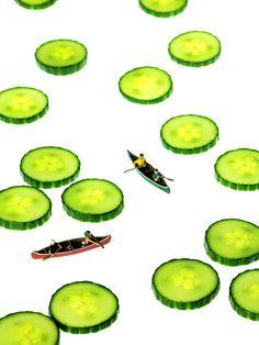 Title: Boating Among Cucumber Slices Miniature Art Artist: Mingqi Ge Medium: Painting - Photograph