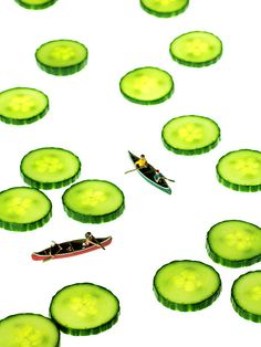 Title: Boating Among Cucumber Slices Miniature Art Artist: Mingqi Ge Medium: Painting - Photograph