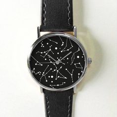 Constellation Watch, Women Watches, Mens Watch, Leather Watch, Astronomy, Gold Silver Watch, Rose Gold Watch , Gift, Black and White ,