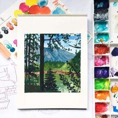 Gouache Painting, Magazine Art, Cool Art, Spotlight, Happy, Artist, Pine, Trees, Paintings