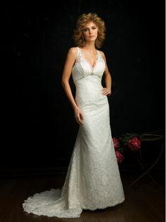 New Lace V-Neck Column Sleeveless Wedding Dress with Chapel Train BPW044